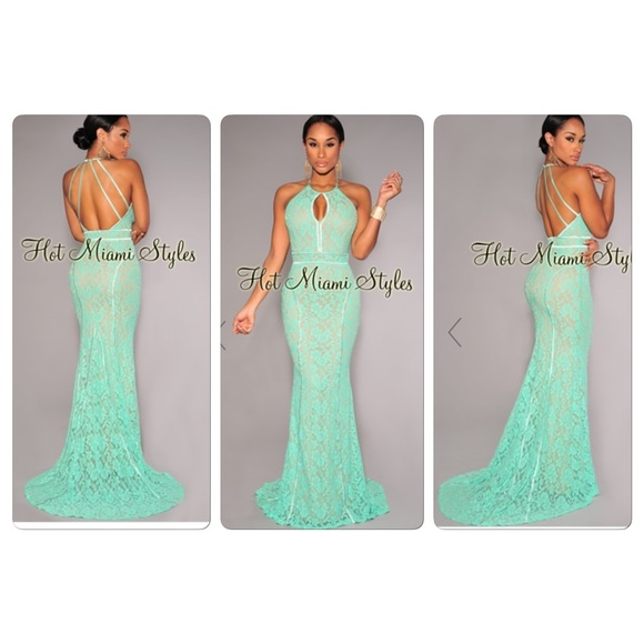 Hot Miami Styles Dresses | Mint Green Open Back Gown | Poshmark